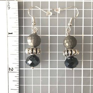 Handmade Sterling Earrings Matte Grey & Blue/Black